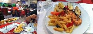Les brochettes de gambas, poivrons & calamards (avec frites et salade) à Pedra Alta
